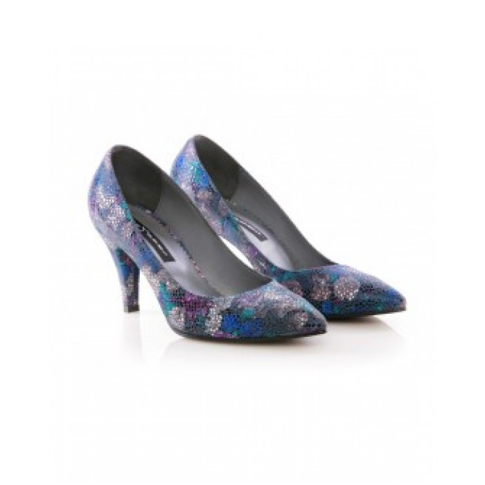 Pantofi Cu Toc Din Piele Naturala Dark Flowers